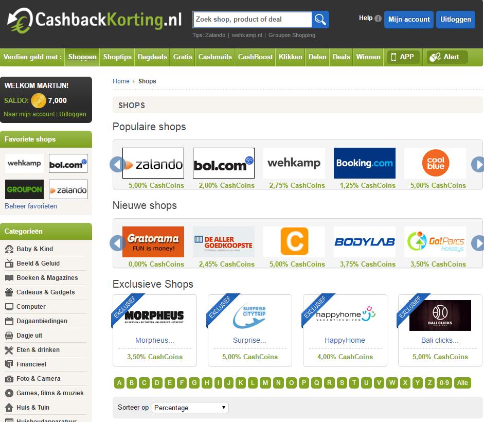 cashbackkorting website